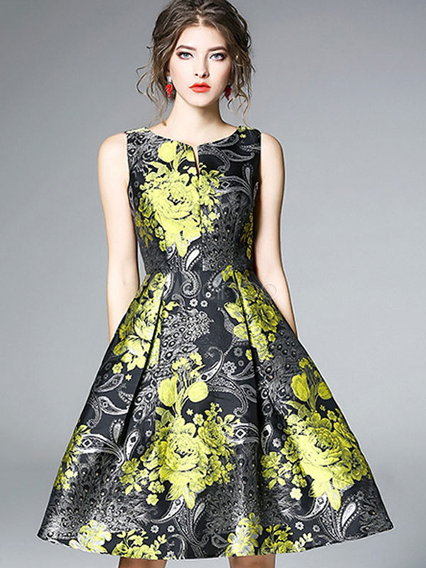 Buy Women Vintage Dresses 1950s Floral Dress Green Sleeveless Round Neck A Line Midi Dress for $42.74 in Milanoo store