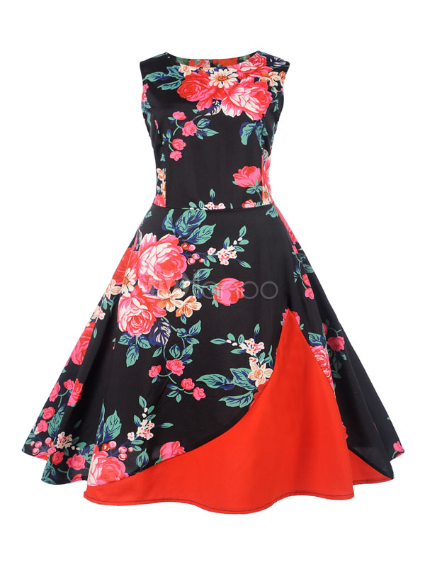 Buy Black Vintage Dresses Floral 1950s Round Neck Sleeveless A Line Midi Dress For Women for $23.74 in Milanoo store
