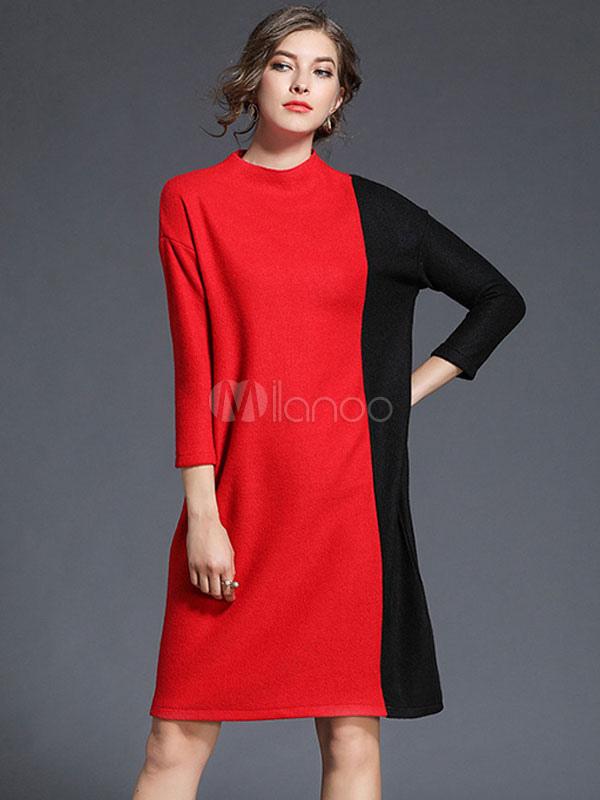 Belle robe droite mode en acrylique bicolore surdimensionné avec tricot col  ras du cou-No ... 251f7dd6c612