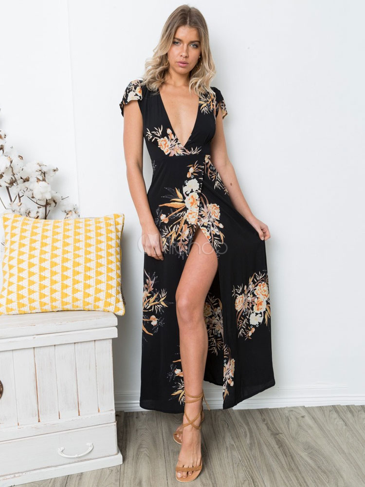 02de94a349 Vestido de chiffon longo floral Vestido de chiffon longo feminino com  profunda fenda Boho-No ...