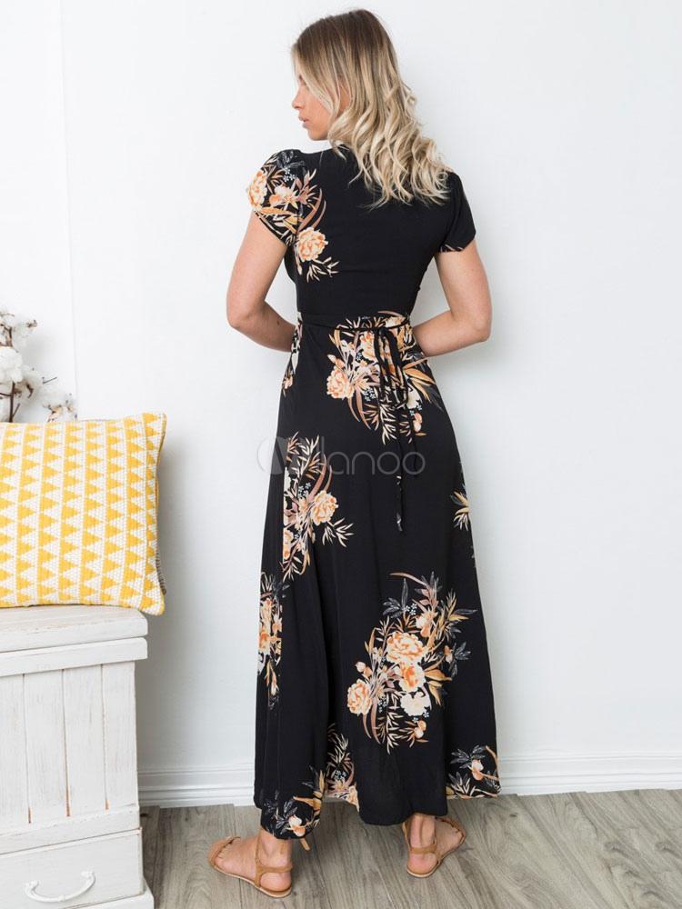 8d5b62c837 ... Vestido de chiffon longo floral Vestido de chiffon longo feminino com  profunda fenda Boho-No
