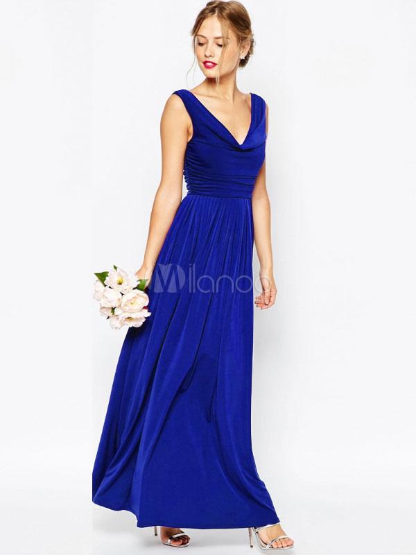 Women Maxi Dress Royal Blue Party Dress Sleeveless V Neck Ruched Chiffon Long Dress