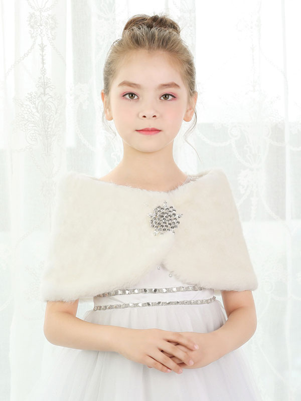 Buy Faux Fur Shawl Kids Wedding Shrug Flower Girls Wrap Ivory Winter Stole for $22.79 in Milanoo store