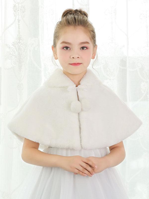 Buy Flower Girls Shrug Kids Wedding Shawl Faux Fur Stole Ivory Pom Poms Winter Wrap Capelet for $15.19 in Milanoo store