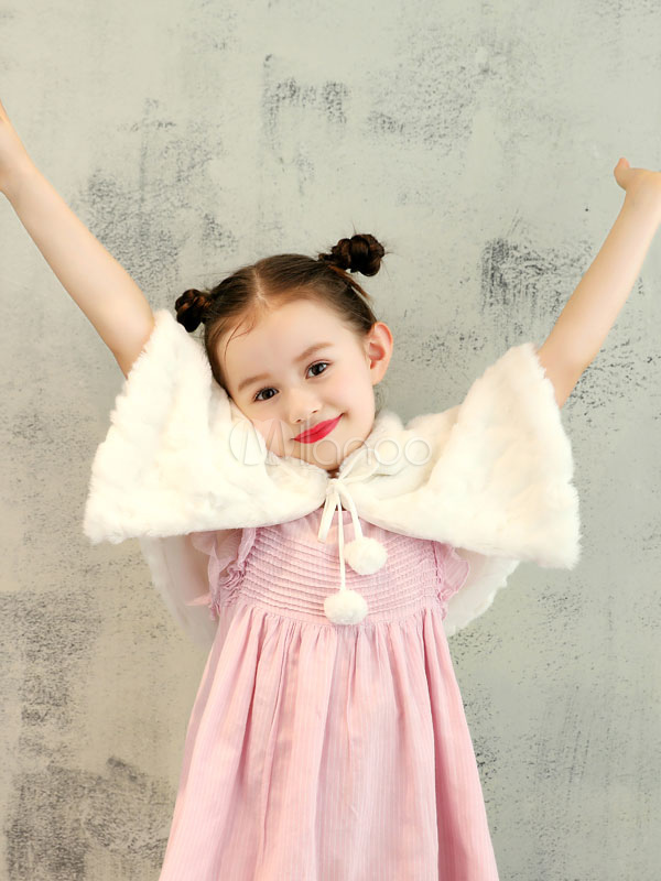 Buy Flower Girls Wrap Faux Fur Shrug Kids Wedding Shawl Ivory Pom Poms Winter Stole Capelet for $15.19 in Milanoo store