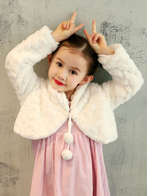 Buy Flower Girls Jacket Faux Fur Shrug Kids Wedding Shawl Ivory Pom Poms Long Sleeve Winter Wrap Stole for $15.19 in Milanoo store