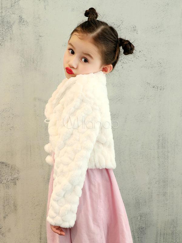 Flower Girls Jacket Faux Fur Shrug Kids Wedding Shawl