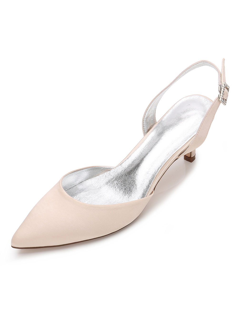 Champagne Wedding Shoes Pointed Toe Kitten Heel Bridal Shoes