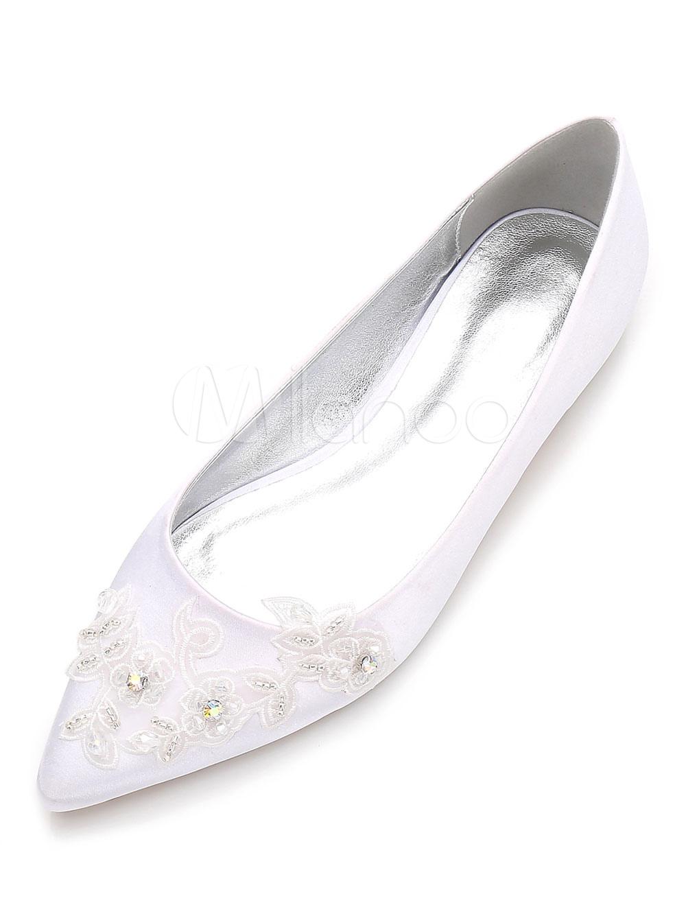 360fa0e13d Ivory Wedding Shoes Satin Rhinestones Flat Bridal Shoes Pointed Toe  Bridesmaid Shoes