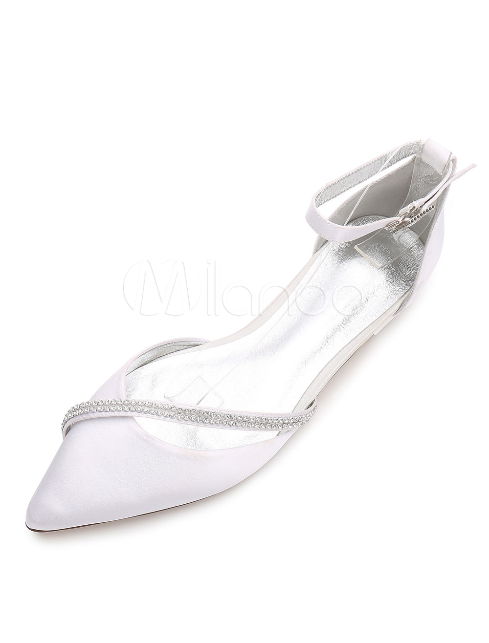 Buy White Wedding Shoes Satin Bridesmaid Shoes Pointed Toe Rhinestones Flat Bridal Shoes for $47.49 in Milanoo store