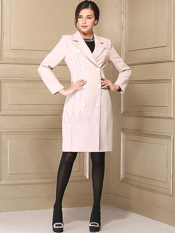 Buy Women Pea Coat Pink Long Sleeve Notch Collar Dress Coat For Winter for $71.39 in Milanoo store