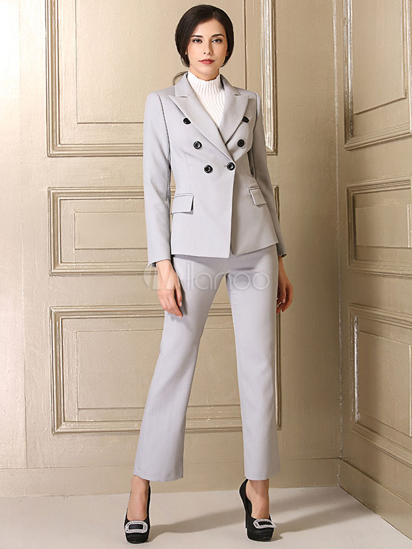 Women Dress Suit 2 Piece Outfit Grey Long Sleeve Notch Collar Lounge