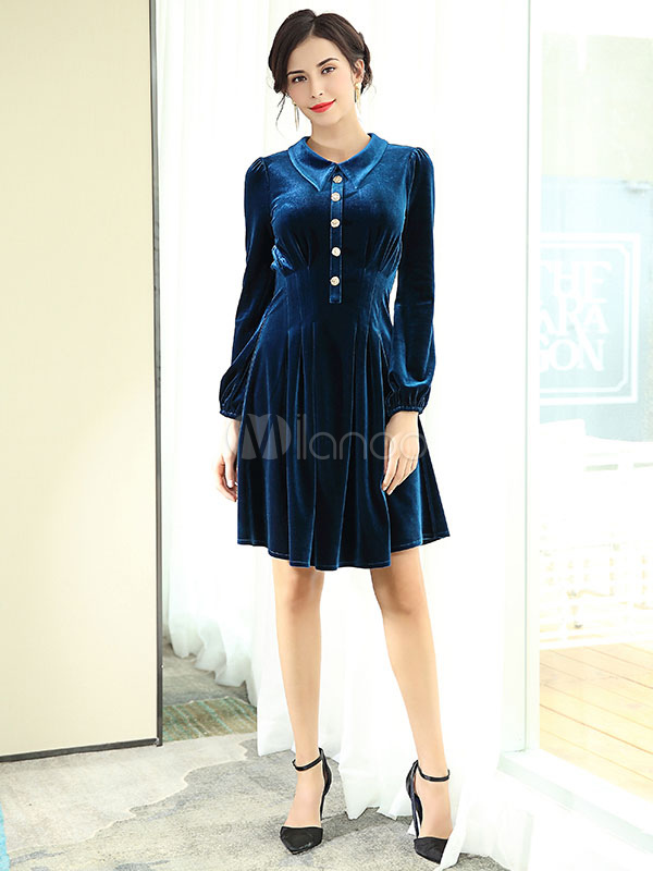 Buy Women Vintage Dress Velour Royal Blue Long Sleeve Turndown Collar A Line Pleated Skater Dresses for $56.99 in Milanoo store