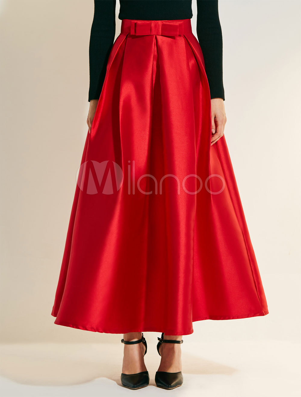 Red Long Skirt Vintage Bows Pleated Skirts For Women