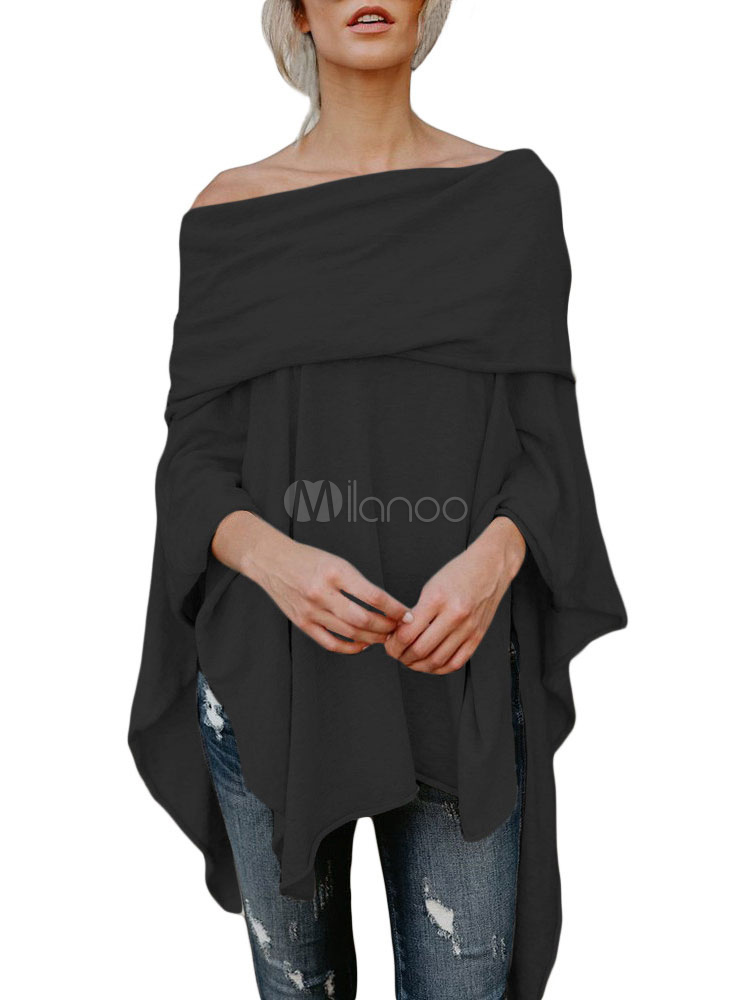 Black Off The Shoulder Top Asymmetrical T Shirt For Women