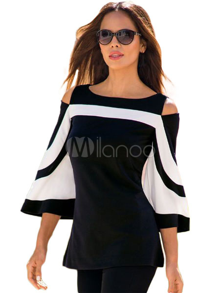 Buy Black Blouse Flared Sleeve Cold Shoulder Round Neck Cut Out Two Tone Top For Women for $15.99 in Milanoo store
