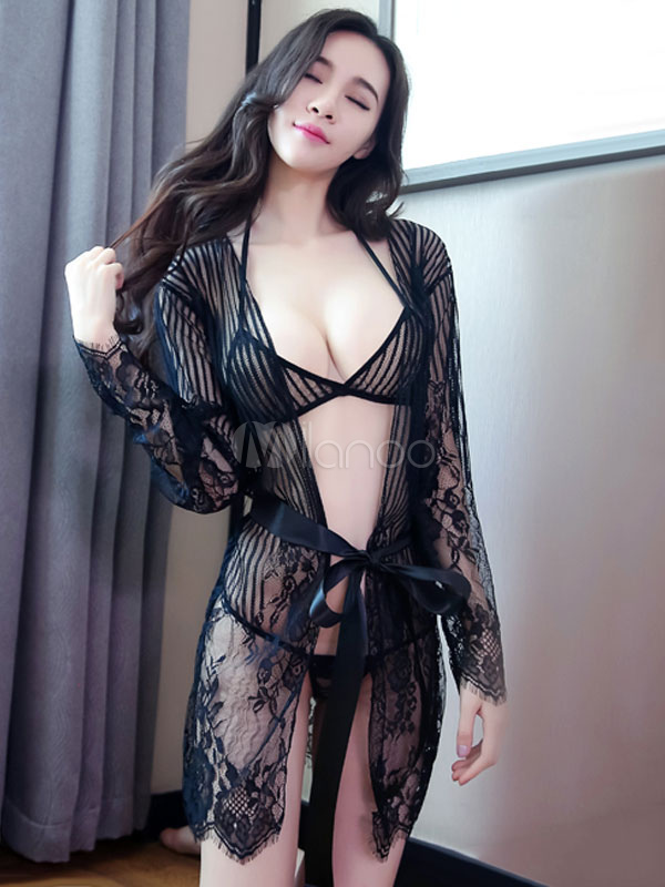 Sleeping Gown Set Lace Sash Striped Women Black Gown With Bra And Brief