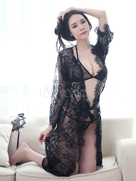 Buy Lace Gown Set Floral Print Sheer Women Black Sleeping Robe With Sash for $18.69 in Milanoo store