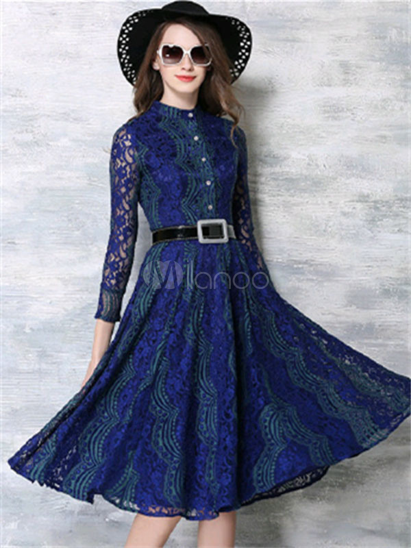 Women Lace Dress Crewneck 3/4 Sleeve Blue Spring Women Swing Dress