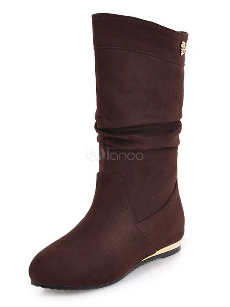 Brown Wide Calf Boots Women Suede Boots Round Toe Slip On Flat Boots