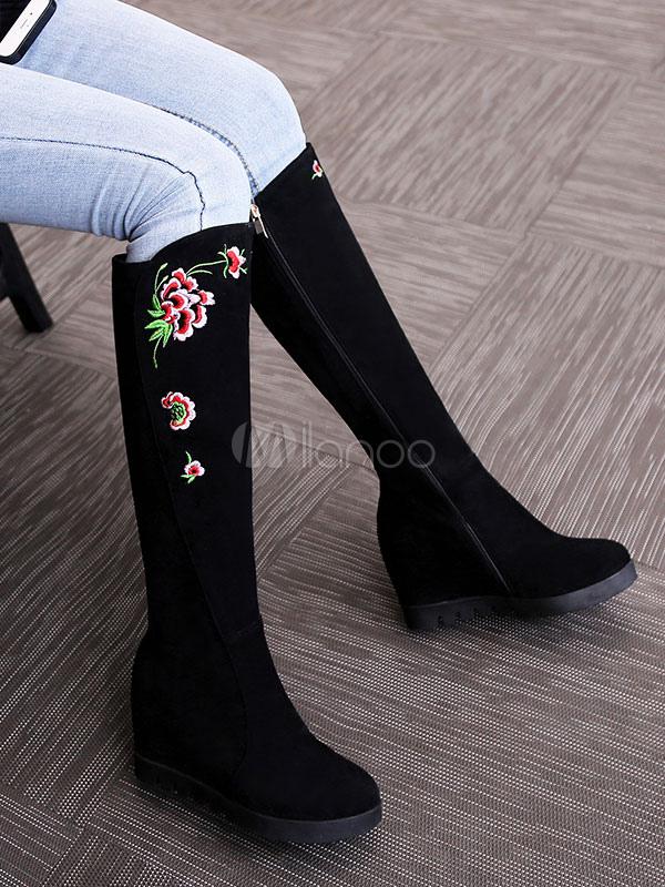 Botas a la rodilla Piel sintética negras Artísticas & bordado étnicas dCjTElwY