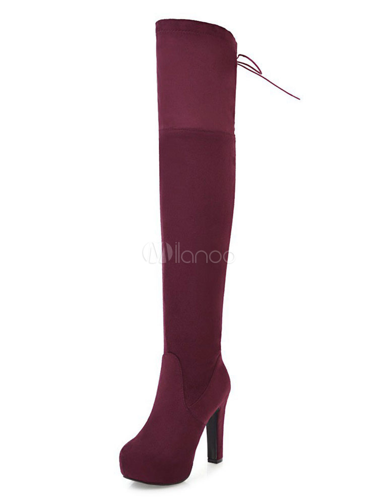 Buy Women Suede Boots Burgundy High Heel Boots Round Toe Lace Up Over Knee Boots for $41.56 in Milanoo store