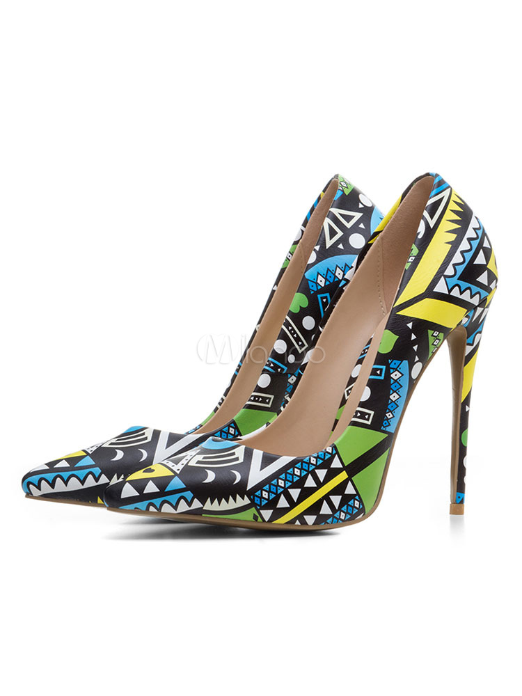 Blue High Heels Women Dress Shoes Pointed Toe Printed Slip On Pumps
