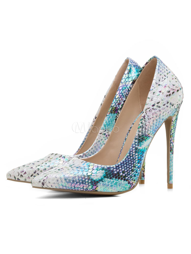 Buy Blue High Heels Women Dress Shoes Pointed Toe Snake Pattern Slip On Pumps for $54.99 in Milanoo store
