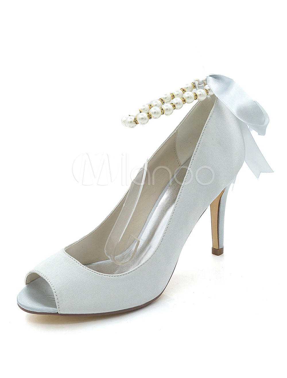 Silver Wedding Shoes Satin Peep Toe Pearls Ankle Strap Pumps Women High Heels