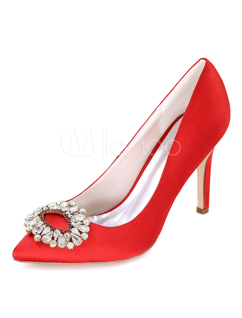 905ae6ae8 ... Pointed Toe Rhinestones Slip On High Heels-No. 12. 30%OFF. Color Red