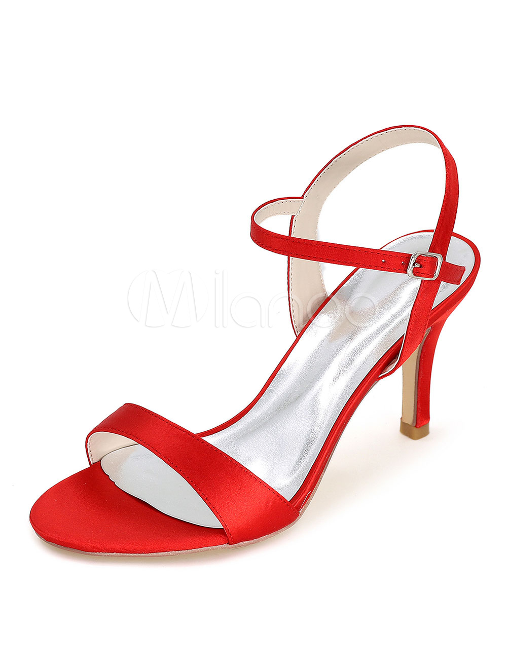 cb035700981 High Heel Sandals Satin Wedding Shoes Red Open Toe Bridal Shoes