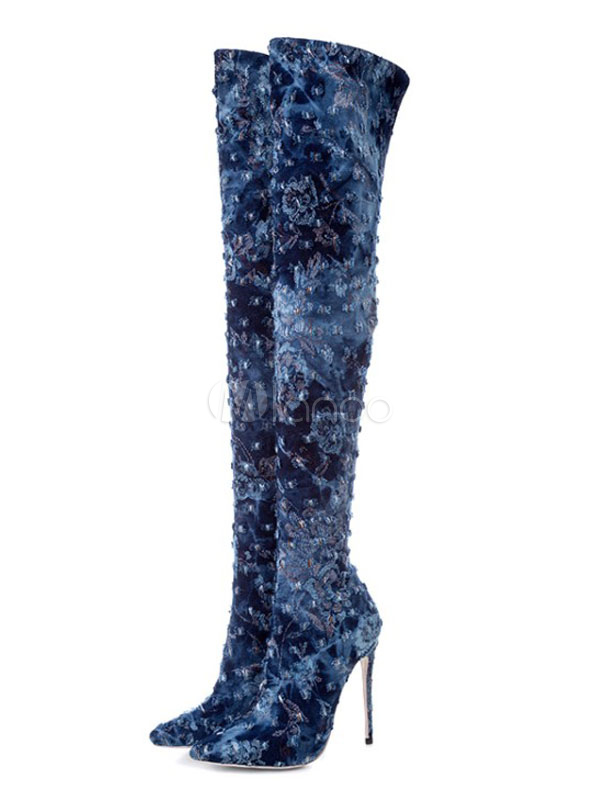 Buy Blue Over Knee Boots Thigh High Boots Pointed Toe High Heel Winter Boots For Women for $83.99 in Milanoo store