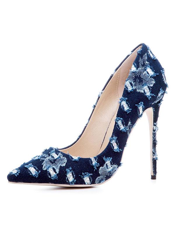 Buy Women High Heels Pointed Toe Heels Deep Blue Slip On Pumps for $59.99 in Milanoo store