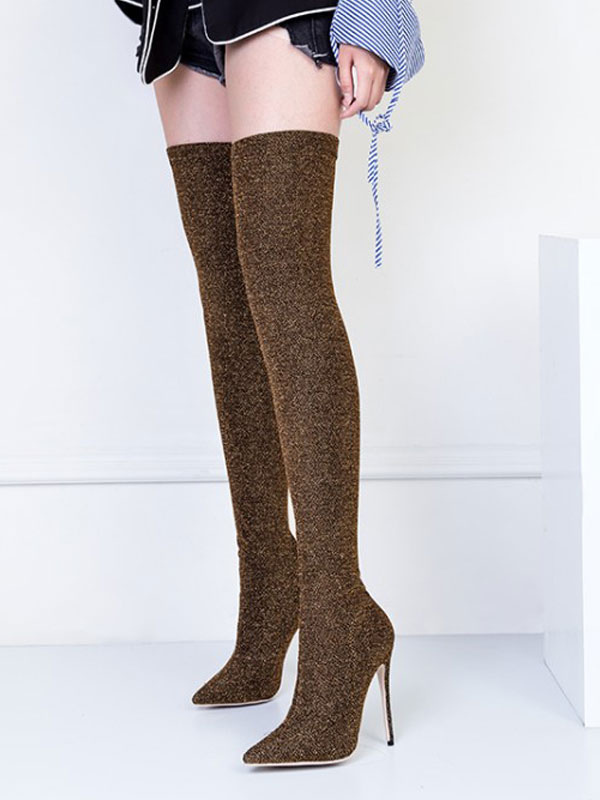 Buy Women Stretch Boots High Heel Thigh High Boots Pointed Toe Slip On Over Knee Boots for $83.99 in Milanoo store