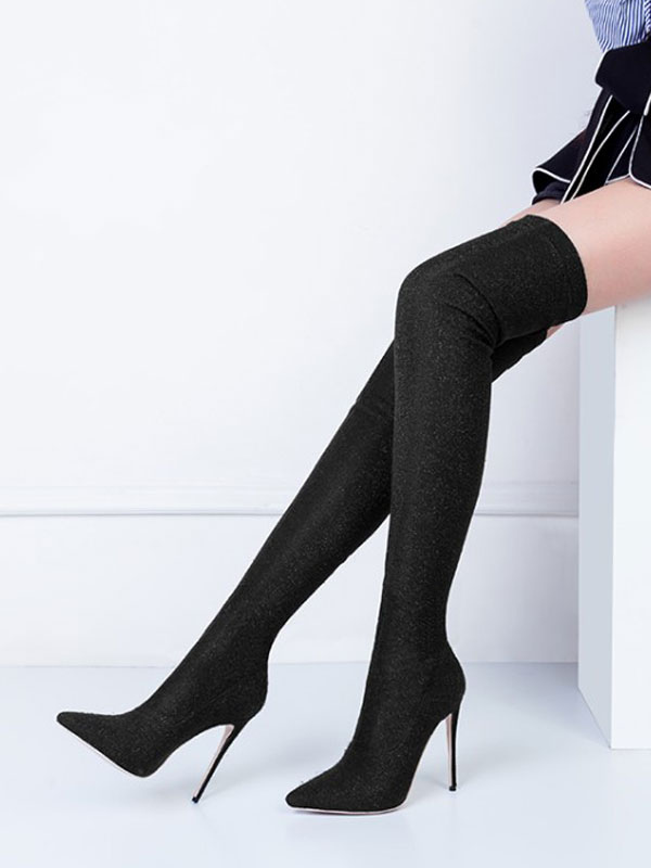 Women Stretch Boots High Heel Thigh High Boots Pointed Toe Slip On Over Knee Boots by Milanoo