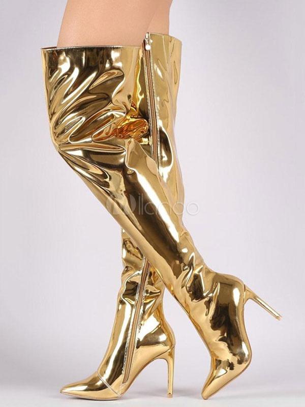 taglia 40 559d6 ae9e9 Stivali sopra al ginocchio 2019 Stivali oro sexy Stivali con tacco a punta  e tacco alto