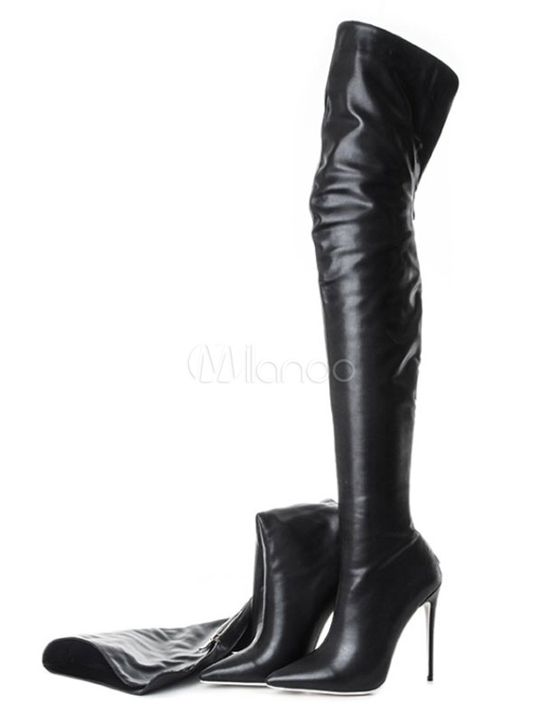 Black Over Knee Boots High Heel Boots Pointed Toe Zip Up Thigh High Boots