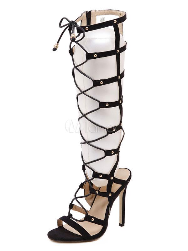 Black Gladiator Sandals High Heel Sandals Open Toe Lace Up Sandal Shoes For Women