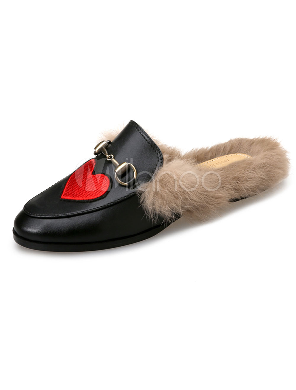 Buy Black Mule Loafers Round Toe Embroidered Mules Women Fur Detail Slip On Loafer Shoes for $39.99 in Milanoo store