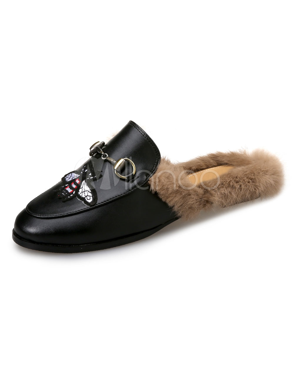 Buy Black Mule Loafers Round Toe Metal Detail Mules Fur Detail Backless Loafer Shoes For Women for $39.99 in Milanoo store