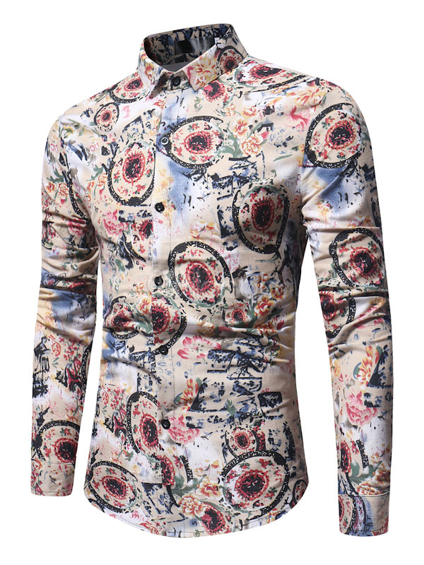 Buy Khaki Casual Shirt Turndown Collar Long Sleeve Printed Cotton Top Men Shirt for $22.49 in Milanoo store