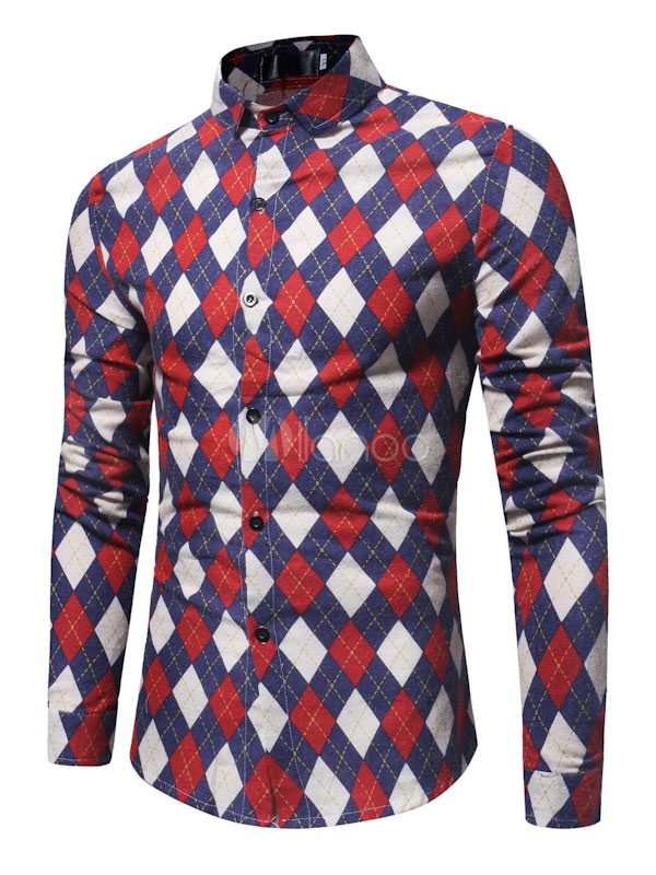 Buy Red Casual Shirt Long Sleeve Shirt Turndown Collar Long Sleeve Printed Cotton Top for $22.49 in Milanoo store