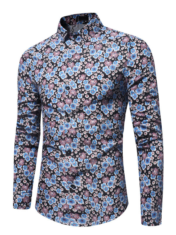 Buy Blue Casual Shirt Long Sleeve Shirt Turndown Collar Long Sleeve Floral Printed Cotton Top for $22.49 in Milanoo store