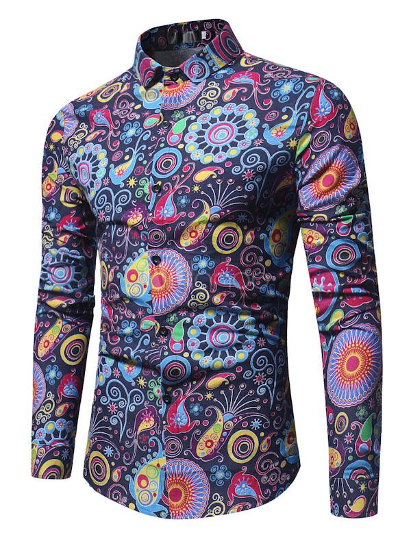 Buy Men Casual Shirt Floral Printed Shirt Turndown Collar Long Sleeve Cotton Shirt for $19.99 in Milanoo store