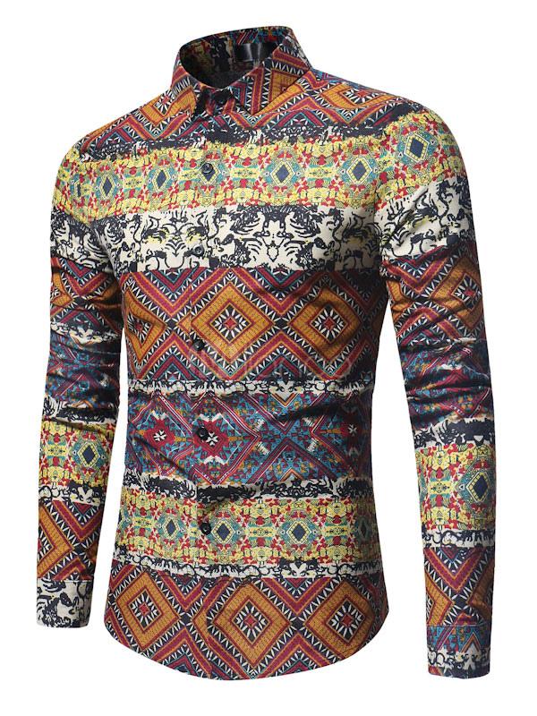 Men Casual Shirt Orange Turndown Collar Long Sleeve Printed Cotton Shirt