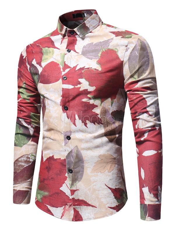 Buy Men Casual Shirt Long Sleeve Shirt Turndown Collar Long Sleeve Printed Cotton Top for $22.49 in Milanoo store