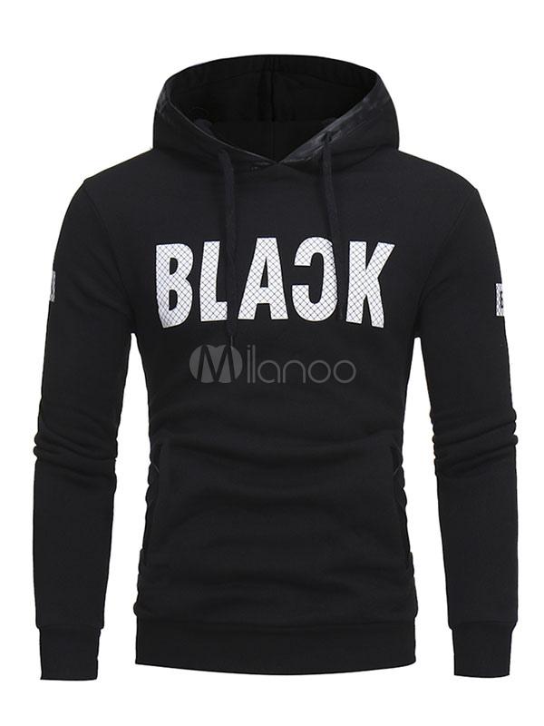 Buy Men Hoodie Black Cotton Sweatshirt Hooded Long Sleeve Letters Printed Casual Top for $24.99 in Milanoo store