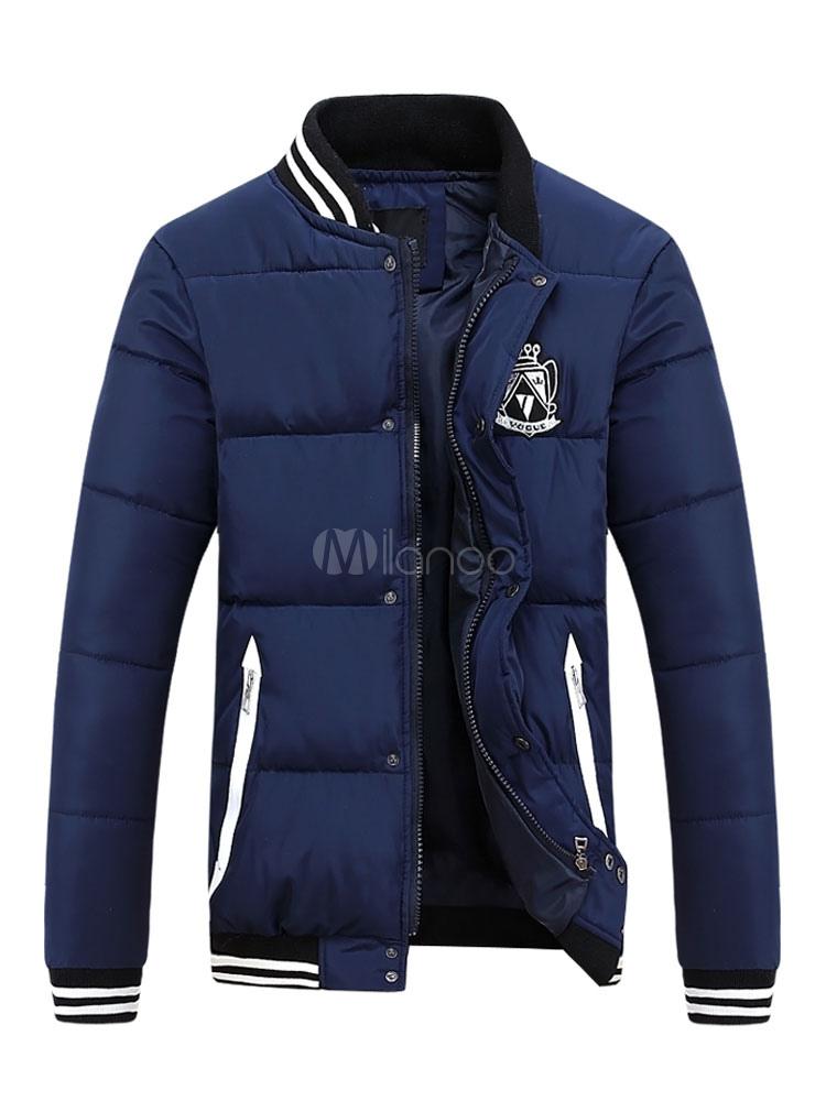 Buy Men Short Jacket Dark Navy Stand Collar Long Sleeve Zip Up Quilted Coat Puffer Coat for $34.99 in Milanoo store