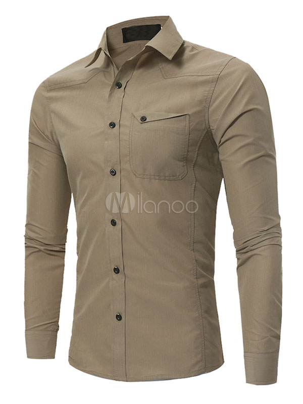 Buy Khaki Casual Shirt Men Shirt Turndown Collar Long Sleeve Regular Fit Cotton Top for $22.49 in Milanoo store