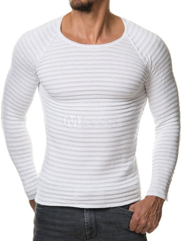 Buy White Pullover Sweater Men Sweater Round Neck Long Sleeve Slim Fit Cotton Sweater for $19.99 in Milanoo store
